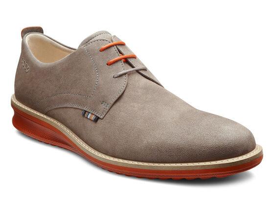 ECCO Contoured Plain Toe Tie (WARM GREY)