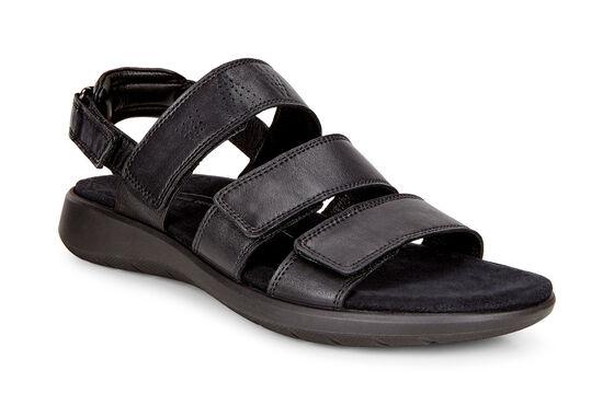 ECCO Soft 5 3-Strap Sandal (BLACK)