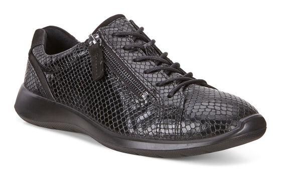 ECCO Soft 5 Side Zip Sneaker (BLACK/BLACK)
