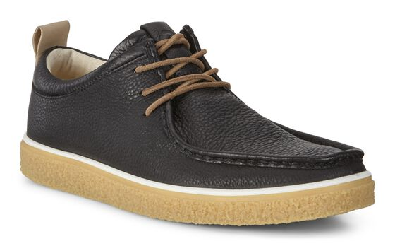ECCO Mens Crepetray Moc Tie (BLACK/POWDER)