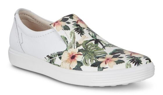 ECCO Womens Soft 7 Slip On (WHITE/FLOWER PRINT)
