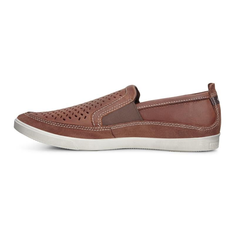 2016 Latest ECCO Collin Perf Slip On - Bison/Cognac Casual Shoes