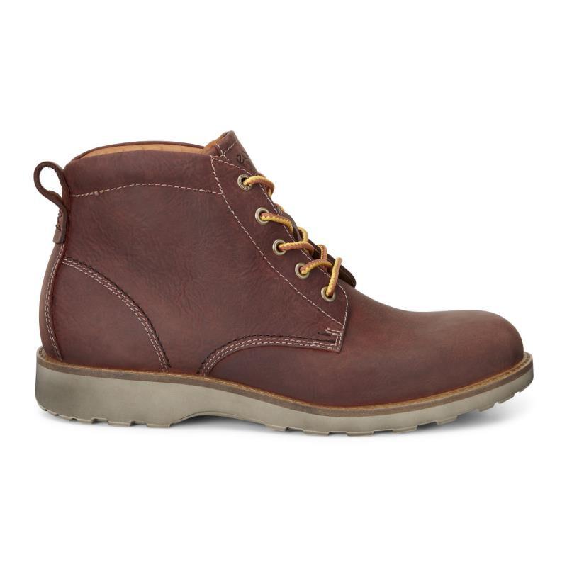 Men'S Ecco Cognac Boot Holbrok Plain Toe