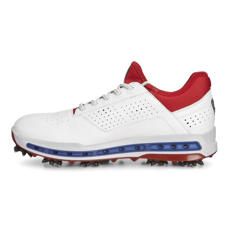... ECCO Mens Golf Cool 18 GTXECCO Mens Golf Cool 18 GTX WHITE/TOMATO  (50431 ...