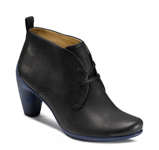 ECCO Sculptured 65 Lace Bootie (BLACK WITH MAZARINE BLUE SOLE)