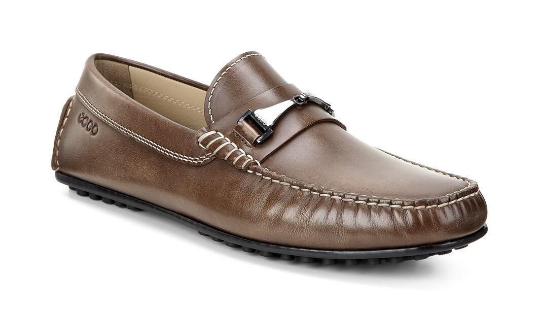 Ecco Mens Hybrid Bit Moc Loafers Walnut