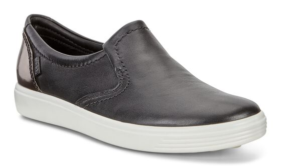 ECCO Womens Soft 7 Slip On II (BLACK/BLACK/DARK CLAY)