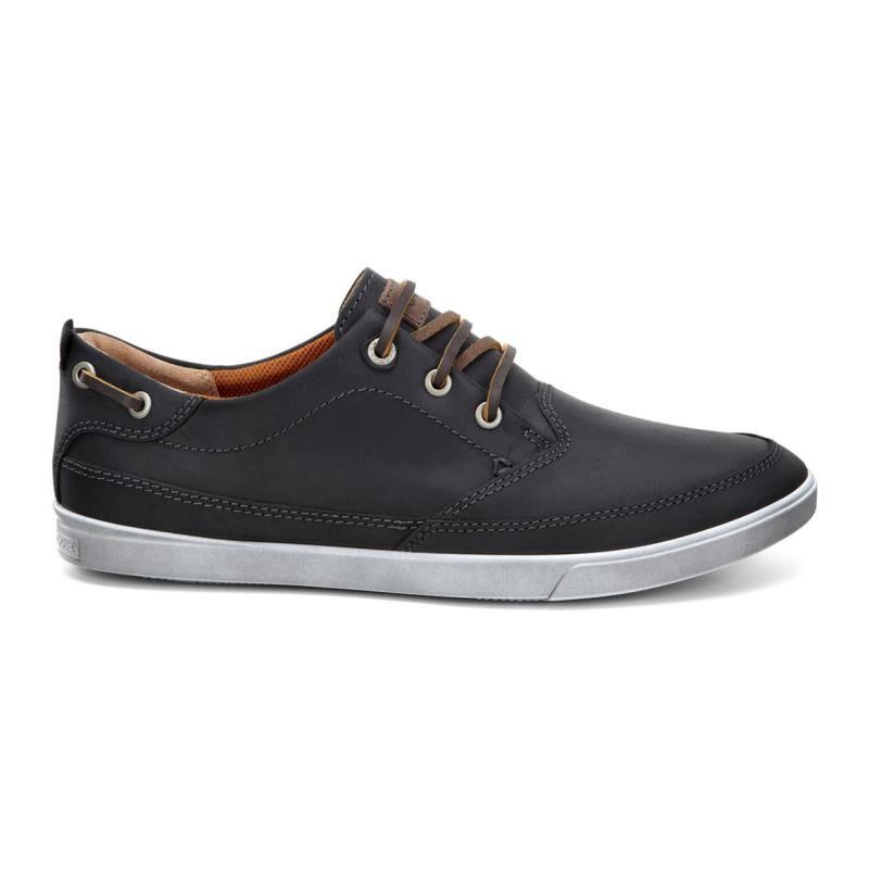 Mens Shoes ECCO Collin Nautical Sneaker Black/Cocoa Brown