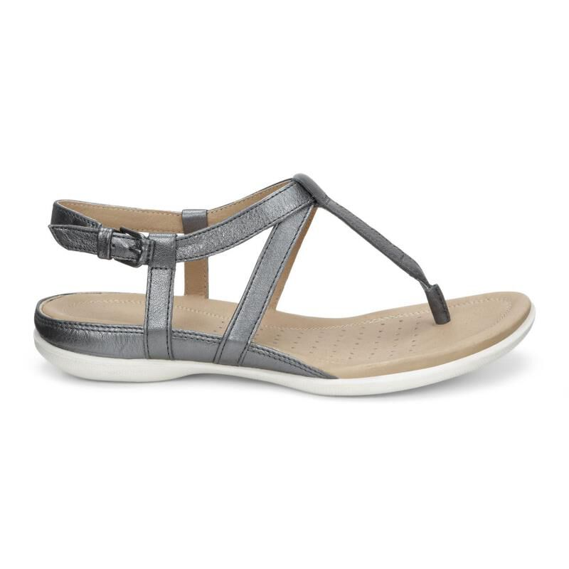 Womens Sandals ECCO Flash T-Strap Sandal Dark Shadow Metallic
