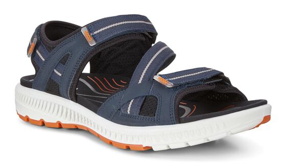 ECCO Mens Terra 3S Sandal (TRUE NAVY/ORANGE)