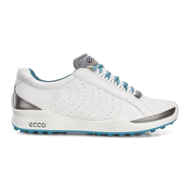 Ecco Biom Golf Hybrid Womens White Turquoise Golf Shoes