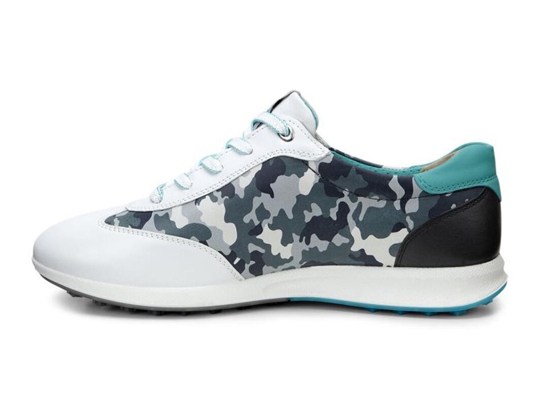 Womens Shoes ECCO Golf Street EVO One Camo White/Titanium/Turquoise