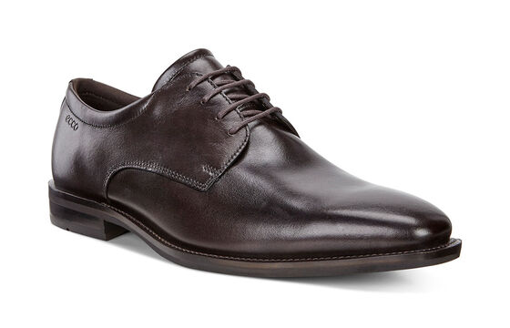 ECCO Faro Plain Toe Tie (COFFEE)