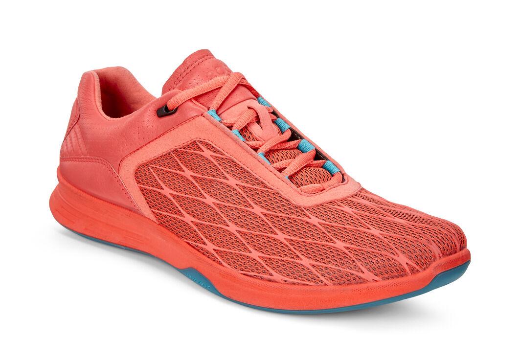 Best Sale Women ECCO Exceed Sport Walking Shoe Coral Blush/Capri Breeze Textile/Polyurethane