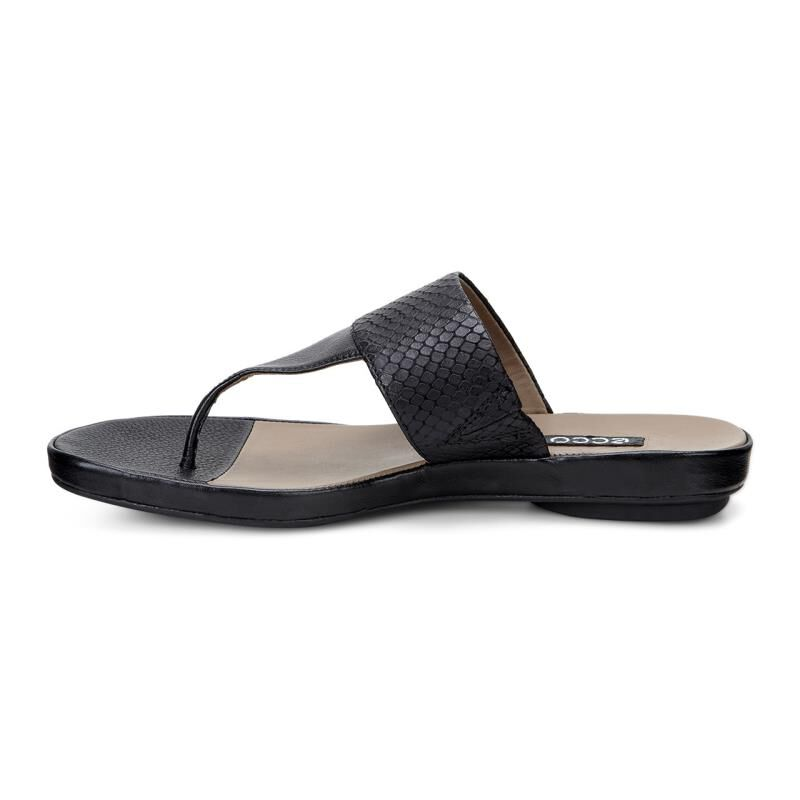 Womens Sandals ECCO Tabora 15 Strap Thong Black/Black