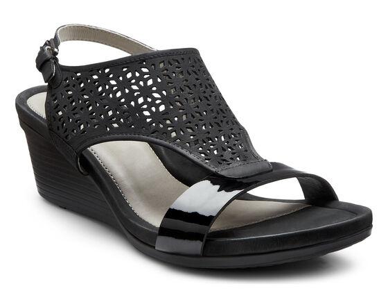 ECCO Touch Laser Cut Sandal (BLACK/BLACK)
