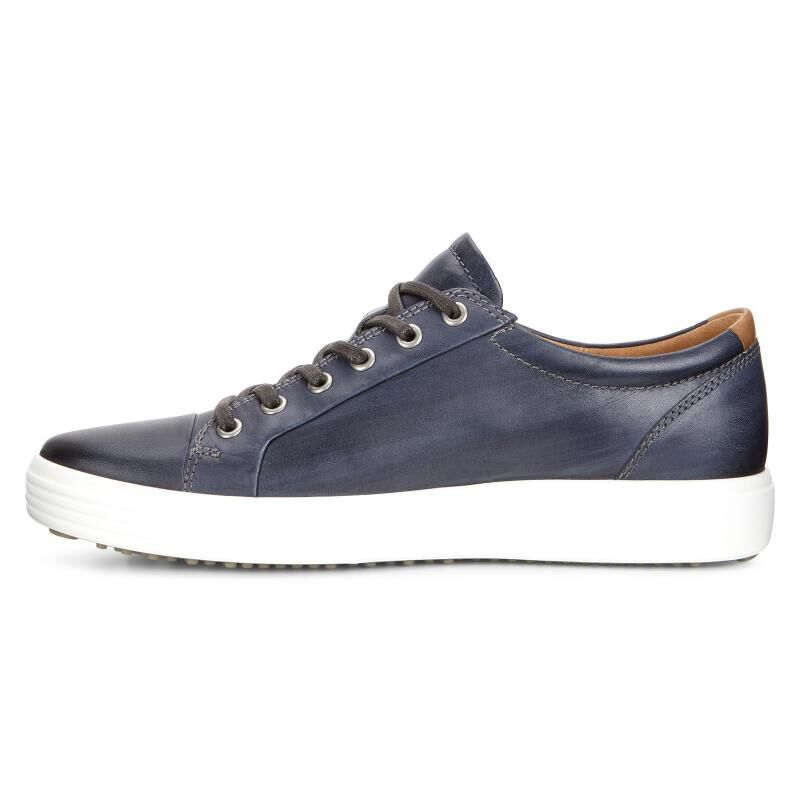 Discount Sale ECCO Soft 7 Premium Tie Sneaker Moonless Full Grain Leather Men